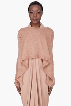 RICK OWENS Beige Mohair Wrap Poncho Sweater