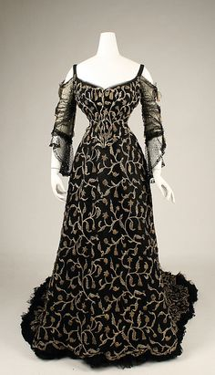 An alluringly beautiful French silk evening dress from 1904.