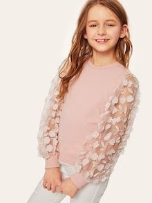 To find out about the Girls Floral Applique Embroidered Mesh Sleeve Top at SHEIN, part of our latest Girls T-Shirts & Tanks ready to shop online today! Dresses Kids Girl, Kids Outfits Girls, Girls Fashion Clothes, Teen Fashion Outfits, Cute Dresses, Kids Fashion, Girl Outfits, Cute Outfits, Girls Tees