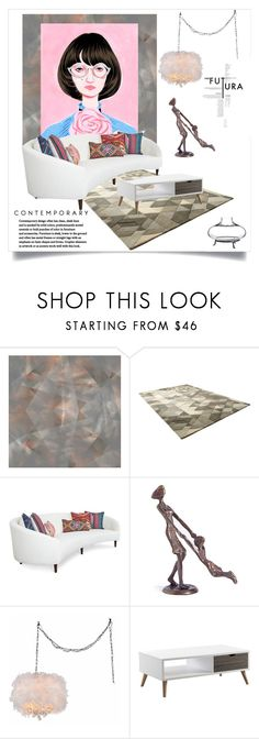 """Contemporary"" by ildiko-olsa ❤ liked on Polyvore featuring interior, interiors, interior design, home, home decor, interior decorating, Danya B, Warehouse of Tiffany, Serendipity and Pottery Barn"