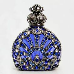 Handmade, Mouth Blown Czech Bohemian Glass. Historical replica of centuries old perfume bottle