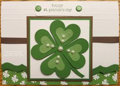 handmade St Patrick's Day card from Keenan Kreations: Go Green! :-) ...luv the four leaf clover made from layered die cut hearts ... Stampin' Up!