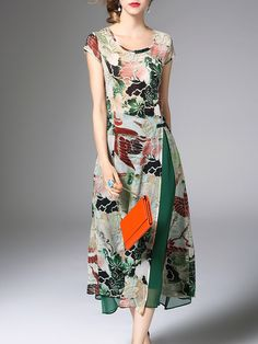 Green Floral Two Piece Casual Midi Dress