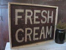 Primitive Antique FRESH CREAM Sign  18 x 24  Advertising Farmhouse Country EAAM