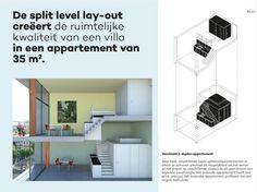 Een ontwerp van twee split-level appartementen van elk 35m2.