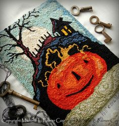 Michelle Palmer DMC floss fibers punch needle pattern. Jack O Lantern Hill. Halloween, harvest pumpkin Fall Autumn embroidery