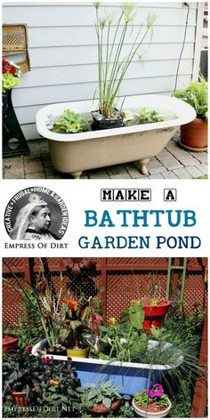 Bathtubs (and a hottub) converted into garden ponds Backyard Projects, Outdoor Projects, Garden Projects, Outdoor Decor, Old Bathtub, Clawfoot Bathtub, Garden Ponds, Garden Tub, Garden Water