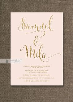 Blush Pink & Gold Wedding Invitation Gold Glitter Modern Script Names Classic Glam Printable Digital or Printed - Mila Style
