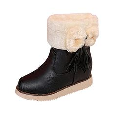 Women Shoes Inkach Bowknot Warm Flats Shoes Snow Women Boots Autumn Winter Shoes Fashion 95 US Black ** Check this awesome product by going to the link at the image.