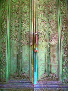 Laurel Hill Cemetary, Philadelphia, Pennsylvania. It was hard to photograph this mausoleum door.... by Star Cat, via Flickr