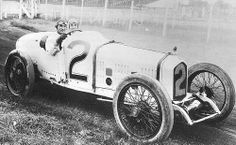 1920 Indy 500. Ralph de Palma in a Ballot 3-litre 8-cylinder. He placed 5th with mechanic Peter de Paolo