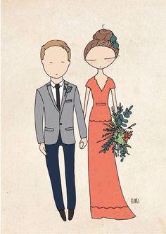 Cool wedding Best wedding dress Custom portrait illustration :)