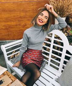 gris souris 📎 allure style mode fashion outfit automne hiver fall winter grey… gray mouse 📎 look fashion style fashion outfit fall winter fall winter gray pullover min skirt Mode Outfits, Skirt Outfits, Casual Outfits, Feminine Fall Outfits, Winter Outfits, Office Outfits, Party Outfit Winter, Holiday Party Outfit Casual, Uni Outfits