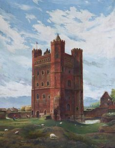 Tattershall Castle, Lincolnshire, from the North East by Isabelle Smith, Lincoln England, Historic Houses, Royal Palace, Art Uk, Watercolors, Castles, Walt Disney, Artworks, Medieval