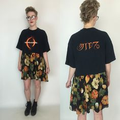 ☮The Lunar Eclipse Dress ☮  ☮F E A T U R E S☮  OUR handmade LUNAR ECLIPSE dresses !!!!  Handmade from recycled materials  A Perfect Circle band tee - 2000 album  ONE OF A KIND ITEM ! Double layer skirt bottom - red under layer :)  ONE OF A KIND! Comfy loose fit  comfy cotton  No closure; ju