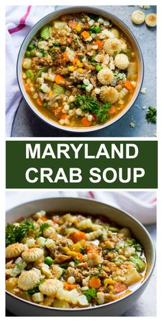 Farmers market mix of hearty vegetables, smell of Old Bay seasoning, and lumps of fresh crab meat. This bowl of Maryland crab soup is the best crab soup! Veggie Soup Recipes, Crab Recipes, Vegetarian Recipes Dinner, Easy Dinner Recipes, Beef Recipes, Salad Recipes, Healthy Recipes, Carrot Recipes, Potato Recipes