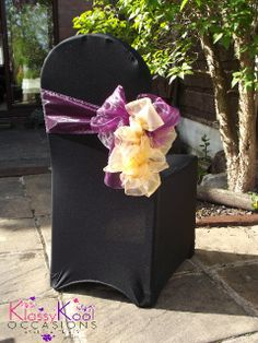 Wedding Chair Cover Hire Sunderland Balcony Table And Sets 17 Best Covers Sashes Images Black Lycra With Unique 2 Colour Ruffle Decoration Using Purple Gold Organza