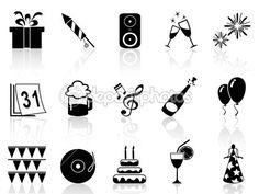 Downloaden - Geïsoleerde zwarte Nieuwjaar pictogrammen instellen van witte achtergrond — Stockillustratie #38239331