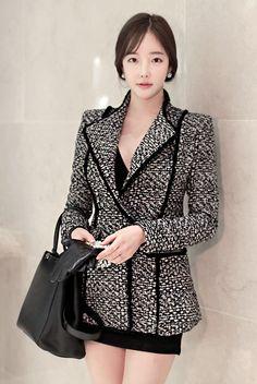 LUXE ASIAN WOMEN STYLE KOREAN FASHION CLOTHES Coco Tweed Jacket