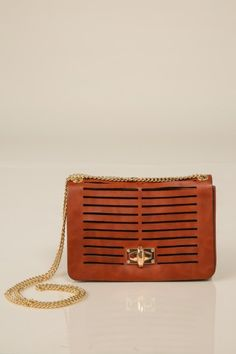 The perfect little bag! Must have cognac bag with gold chain strap! Repin if you want it!