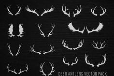 Hand Drawn Deer Antlers Vectors by hwgraphics on @creativemarket