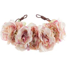 Rock N Rose Blossom Floral Crown Headband (£42) ❤ liked on Polyvore featuring accessories, hair accessories, hair, jewelry, pink, pink flower crown, pink headband, flower crown headband, flower crown and flower garland headband