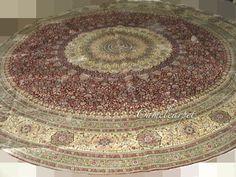 Round handmade silk carpet Size:12X12 foot Material: Silk Design: Central medallion Craft: Hand kontted   coco@camelcarpet.com whatsapp:008613213228709