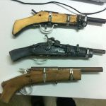 Pictured are two dirt simple improvised 'zip guns' seized by police which we… – Ken Osborne - Decoration Homemade Shotgun, Homemade Weapons, Local Hardware Store, Barrel, Police, Survival, Shotguns, Post Apocalyptic, Simple