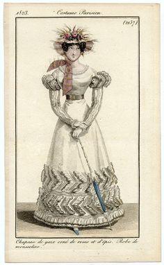 Dress of mousseline with flower-trimmed hat, Journal des Dames et des Modes, 1823.