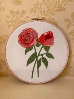 Hand embroidered rose illustration, floral design embroidery hoop Rose Illustration, Floral Illustrations, Embroidery Hoops, Hand Embroidery, Embroidered Roses, Wooden Hoop, Friends In Love, Gift Tags, Floral Design