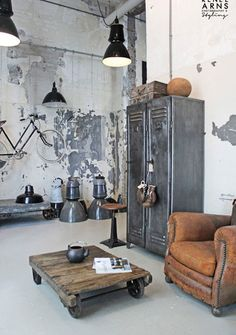 vintage kitchen furniture. quintessential mix of industrial and antique vintage leather club chair next to metal lockers interiors design architecture home decoz kitchen furniture l