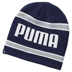 6d265789ddcdb Look your very best on the golf course with this stylish looking mens stripe  golf winter beanie hat by Puma!