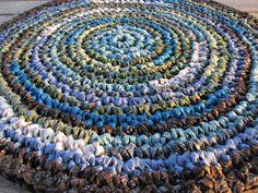 "Carolina Coastline Rug 34"" Crochet Rag Area Rug Round Medium Washable Floor Handmade Kitchen Porch Country Primitive Batik Teal Blue Green"