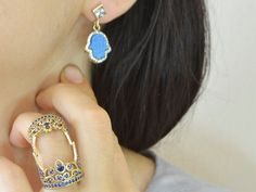 Blue #gemstone hand shaped 925 karat sterling silver #earrings and Blue cz Rhinestones two parts knigth #ring.