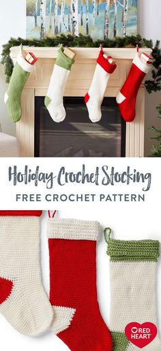 Holiday Crochet Stocking free crochet pattern in Red Heart Super Saver. Get in the holiday mood with this crochet stocking pattern that features 4 different versions so you can make a unique one for everyone in the family! Design features simple crochet stitches with contrast cuff and toe. Cuff uses back loop crochet to achieve the fold-over ridge detail Crochet Stocking, Stocking Pattern, Easy Knitting Patterns, Knitting Projects, Simple Crochet, Free Crochet, Holiday Mood, Holiday Crochet, Super Saver