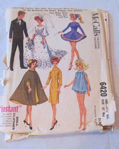 McCall's 6420 - Pattern - Doll Clothes - Barbie and Ken - 1962 - High Fashion