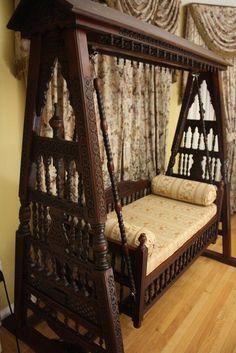 Traditional Indian jhoola (hammock, swing) showcasing excellent wooden craftsmanship from India. Indian Furniture, Decor, Home Decor Furniture, Indoor Swing, Home, Interior, Indian Home Decor, Home Decor, Furniture Design