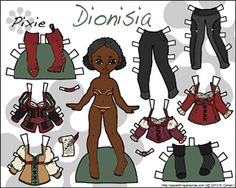 Fantasy paper doll inspired by Once Upon a Time with eight different clothing pieces. She's available to print in either color or black and white.