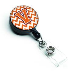 Letter V Chevron Orange and Regalia Retractable Badge Reel CJ1062-VBR