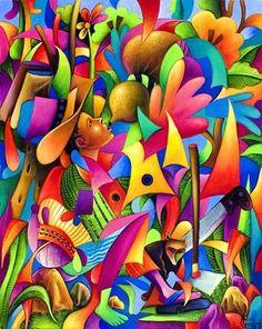 David Rodriguez Blog: Julian Coche Mendoza - Pintor Guatemalteco Project Abstract, Abstract Canvas, Canvas Art, Guatemalan Art, Dibujos Zentangle Art, Mexican Paintings, Mushroom Art, Tropical Art, Mexican Art