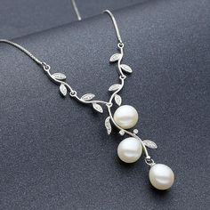 Freshwater Pearl and Sterling Silver Vine Necklace