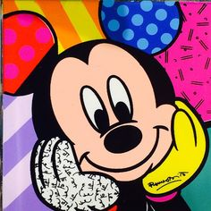 Mickey Mouse pop art by Romero Britto Disney Pop Art, Retro Disney, Mickey Mouse And Friends, Mickey Minnie Mouse, Disney Mickey, Walt Disney, Mickey Mouse Kunst, Tableau Pop Art, Mouse Pictures