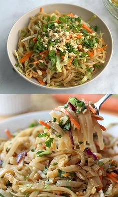 Simple Thai Noodle Bowl - easy and healthy Asian noodle salad recipe, filled with crunchy veggies and mixed with a flavorful soy based sauce. Perfect meal for a light dinner, lunch or meal prep! Lunch Recipes, Vegetarian Recipes, Cooking Recipes, Healthy Asian Recipes, Asian Dinner Recipes, Healthy Recipe Videos, Healthy Breakfast Recipes, Tai Food Recipes, Simple Healthy Dinner Recipes