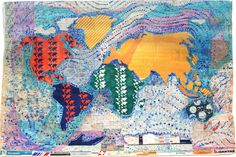 From the Hand Drawn Map Association   World map made of collaged airplane tickets by Mona Abi-Hanna