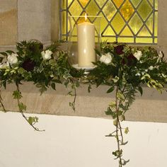 Milk churns at entrance to church another option instead of all with candles in window church flowers junglespirit Gallery