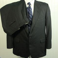 Vtg Hickey Freeman Gray Pinstripe 100% Wool 2 Pc Suit 46L Jacket 40 x 31.5 Pants #HickeyFreeman #TwoButton
