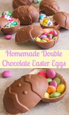Double Chocolate Easter Eggs these homemade surprise inside Easter Eggs are made with milk chocolate and white chocolate. The Perfect Easter treat! Easter Snacks, Easter Candy, Easter Treats, Easter Recipes, Easter Desserts, Easter Food, Chocolate Bomb, Easter Chocolate, Homemade Chocolate