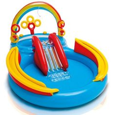 Inflatable Pool Water Play Rainbow Ring Center Slide Games Kids >>> You can get additional details at the image link. (This is an affiliate link) Play Pool, Water Play, Pool Water, Water Toys, Piscina Playground, Slide Games, Play Centre, Outdoor Toys, Water Slides