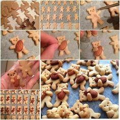 """These cheery fun cookie biscuit with nuts will delight """"kids"""" of all ages! I love baking with kids and I LOVE baking quirky cookies for kids health. So when i saw these amazing Bear Hug Cookies… Cookies For Kids, Cute Cookies, Cream Cookies, Sweet Cookies, Almond Cookies, Cute Food, Yummy Food, Yummy Snacks, Yummy Yummy"""