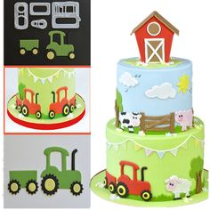 Tractor farm animals Fondant Cutter Set cake decorating tool mold sugarcraft car cake topper birthday baby shower - Everything For Babies Car Cake Toppers, Birthday Cake Toppers, Birthday Cakes, Wilton Cake Decorating, Cake Decorating Tools, Fondant Cookies, Fondant Bow, Fondant Tutorial, Fondant Flowers